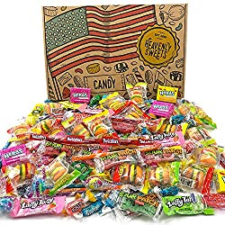Heavenly Sweets American Sweets Selection Party Mix - Assortment of 120+ Sweet Mini Candy Treats from The USA - Birthday, Christmas, Halloween Gift Idea for Kids and Adults - Cool Retro Cardboard Box