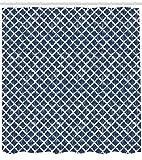 ABAKUHAUS Azul Petróleo Cortina de Baño, Forma İnterior İncompleto, Material de Colores Vibrantes Estampas Personalizadas Antimoho, 175 x 180 cm, Gasolina Azul Y Blanco