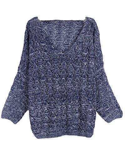 Donna Maglione Pullover Camicia Manica Lunga Maglia Felpe Camicetta Sweatshirt Navy