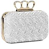 CASPAR Damen Schlagring Box Clutch / Abendtasche mit Stoff Häkel Spitze Dekor und Strass Steinen - viele Farben, Farbe:weiss