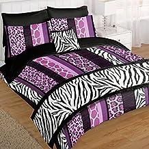 Just Contempo–Juego de cama en una bolsa de cama, doble, poliéster, Morado, matrimonio grande