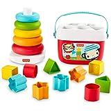 Fisher-Price Mes Premiers Blocs et Pyramide Arc-en-Ciel, jouets bébés en matériau d'origine végétale pour trier et empiler, 6