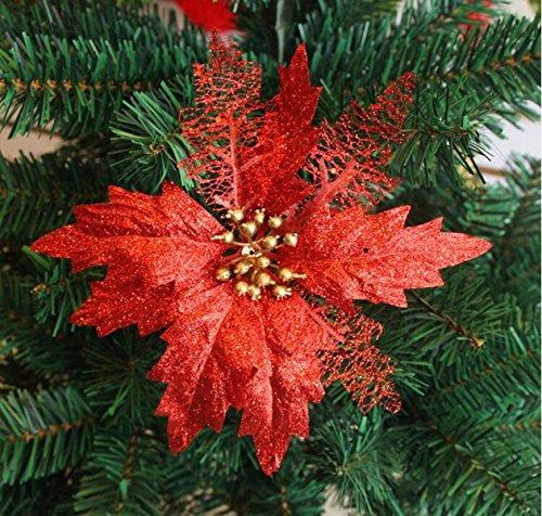 Set of 8Glitzer Weihnachten Kunstblume Blume Heads Schillernde Weihnachtsstern Dia 17,8cm (rot)