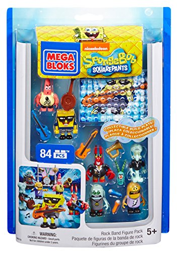 Mega Bloks Spongebob Squarepants Rock Band Figure Pack  Bikini Bottom is ready to groove with the Mega Bloks SpongeBob SquarePants Rock Band Figure Pack! Your favorite characters are decked out to rock out with the Jellyfish Jam Bands cool instrument...