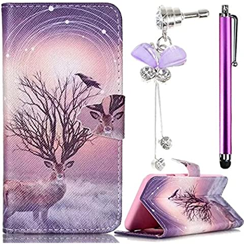Sony Xperia Z3 Compact / Z3 Mini D5803 D5833-Sunroyal® 3 IN 1 Funda Cáscara Case Cove Premium Original Suave PU Alta Calidad de Móvil Estuche Flexible de Cubierta Tapa Con Ranura Protegida Vuelta Patrón de Elk Shell - Dust plug / Rhinestone Diamantes flor Bling Enchufe del Polvo de Cristal + Metal Lápiz Táctil/Stylus Touch