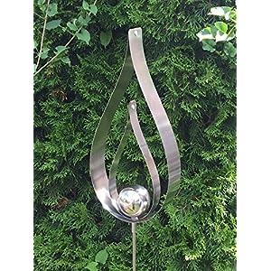 Gartenstecker Flame Edelstahlstele Gartenstecker aus Edelstahl