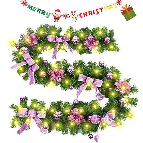 Enhome Weihnachtsgirlande mit Beleuchtung, 2.7 Meter Tannengirlande Bogen-Knoten Weihnachtsdeko Weihnachtstürdekor 8 Modus Lichterkette für Innen und Außen Verwendbar (2.7M/100Led,Rosa)