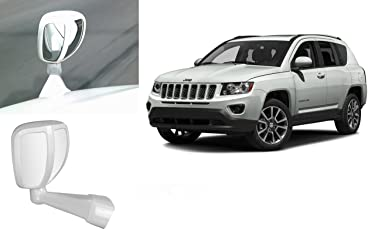 Auto Pearl - Premium Quality Front Fender Wide Angle Mirror Bonnet Mirror (White) For - Jeep Compass