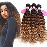 8A Brazilian Hair Deep Wave Ombre Human Hair Weave 3 bundles Three Tone Color Hair Bundles 1b/4/30 Deep Curly Hair Weft Mixed Lenght 10-24 inch Ombre Weave (14 14 14inch)