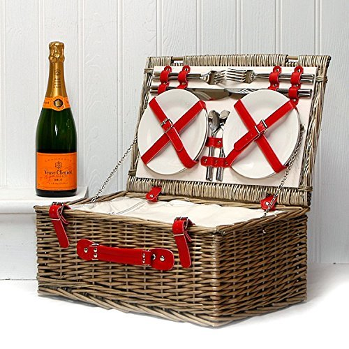 75cl Veuve Clicquot Champagne in a Red Chiller Deluxe 4 Person Luxury Picnic Hamper Basket - Gift ideas for Valentines, Mothers Day, Birthday, Christmas, Anniversary, Wedding, Corporate, Business and Thank You Presents