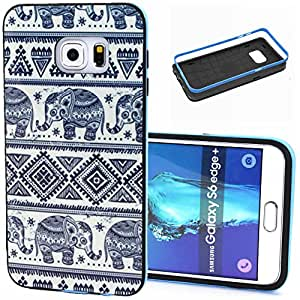 Galaxy S6 Edge Plus Case, Wandeneng Hybrid Fancy Colorful Pattern Hard Soft Silicone Bumper Case Fit for Galaxy S6 Edge+ (2015) (Elephant)
