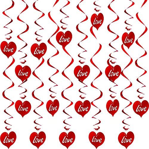 Espirales Colgantes de Corazón Decoraciones de Día de San Valentín Remolino Decorativo para Techo de Fiesta de Hogar Materiales Favores de Fiesta de San Valentín (Rojo, 96 Piezas)