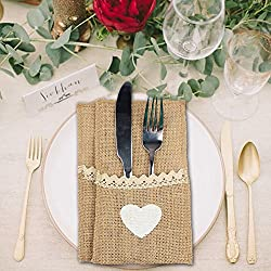 IBuyi 10 X elegante lamentable del yute de Hesse arpillera del cordón Cubiertos Holder bolsa Vajilla, Tenedor y cuchillo de bolsillo de embalaje decoración de la boda favores de 21x11cm rústico de la vendimia (B: Lace + Heart)