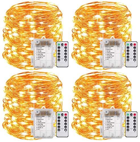 GREEMPIRE Lichterkette Batterie 60 LED 4 Stücke Lichterketten Außen Innen 6.5 Meter IP65 Wasserdicht Kupferdraht 8 Modi Timer mit Fernbedienung Lichterkette für Zimmer Weihnachten Garten Party
