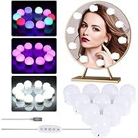LEDGLE Lumière de Miroir,10 Ampoules Hollywood Kit de Lumière LED Dimmable Lampe pour maquillage et Salle de Bain miroir…