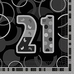 Unique Party- Paquete de 16 servilletas de Papel cumpleaños, Color negro, edad 21 (28479)
