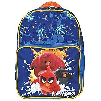 PERLETTI – Angry Birds Pequeña Mochila de Niño Escuela Guarderia Viaje – Bolso Escolar Infantil Azul Estampado – Cartera con Bolsillo Frontal Cierre Cremallera – 31x24x12 cm