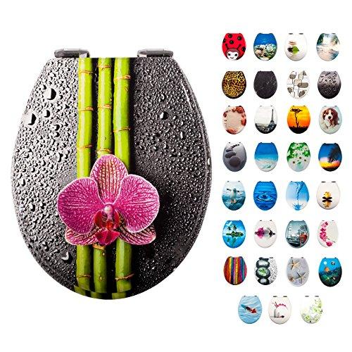 Smartfox WC-Sitz Toilettendeckel mit Absenkautomatik im Motiv Bambus mit Blume, massiver Holzkern, verchromte Schaniere (Blumen Bambus)