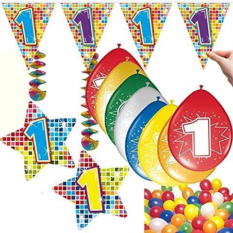 54-teiliges Partydeko Set * ZAHL 1 * für Kindergeburtstag oder 1. Geburtstag mit Girlande, Rotorspiralen, Luftschlangen und vielen Luftballons von