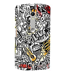 FUSON Abstract Music Background Collage 3D Hard Polycarbonate Designer Back Case Cover for Motorola Moto X Style :: Moto X Pure Edition