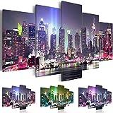 Cuadro 200x100 cm - 3 tres colores a elegir - Impresion en calidad fotografica - Cuadro en lienzo tejido-no tejido - 5 Partes - ciudad New York NY d-C-0015-b-n 200x100 cm