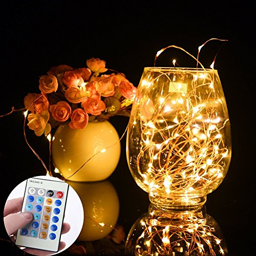 Ledgle 10W 20m 200 LEDs einstellbar wasserdicht LED Lichterkette aus Kupferdraht 10 Helligkeiten 3 Modi ideal für innen und außen Deko(mit verbesserter Fernbedienung und 5V Adapter) (Strom Machen)