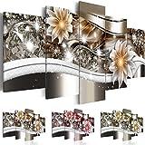 Quadro 200x100 cm - Tre colori da scegliere - 5 Parti - Grande Formato - Quadro su tela fliselina - Stampa in qualita fotografica - Fiori b-A-0266-b-n 200x100 cm B&D XXL