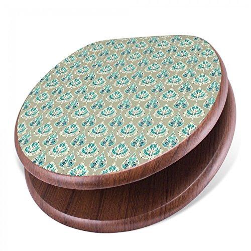 Orientalische Blättern (BANJADO Design Toilettensitz mit Absenkautomatik, WC-Sitz Holz, Klodeckel mit Metall Scharnieren, Toilettendeckel mit Motiv Orientalische Blätter)