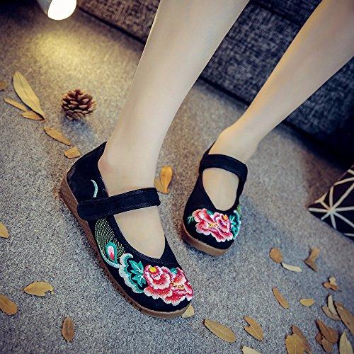 Kafei Dame Brodé Chaussures De Danse Collant Fond Plat Casual Marche Circulaire-tête Tissu Noir