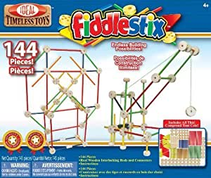 POOF-Slinky 9144FBBL Fiddlestix Classic Wood Connector Set, 144-Pieces by Ideal TOY (English Manual)