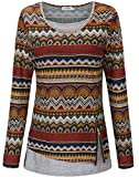 KorMei Damen Langarmshirt Rundkragen Layered Zip Faux Twinset T-Shirt Braun Blumen L