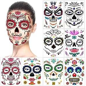 halloween tatouages temporaires pour visage 8 feuilles howaf cr ne mort floral squelette noir. Black Bedroom Furniture Sets. Home Design Ideas