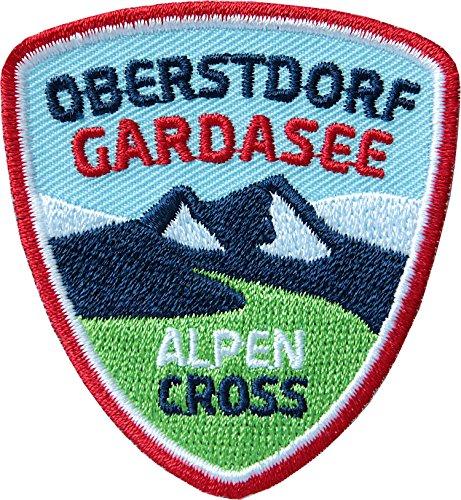2 x Alpencross Oberstdorf - Gardasee / MTB Abzeichen 55 x 60 mm gestickt / Transalp Alpenüberquerung Mountainbike / Aufnäher Aufbügler Sticker Patch / Riva Italien Allgäu Radtour Radführer Radkarte