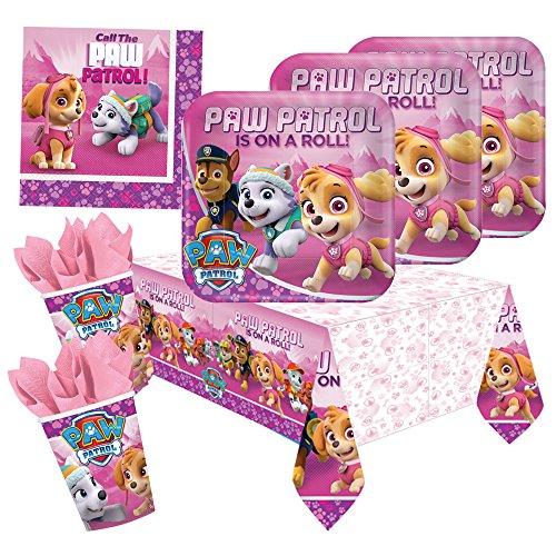 37-teiliges Party-Set Paw Patrol Pink - Teller Becher Servietten Tischdecke für 8 Kinder