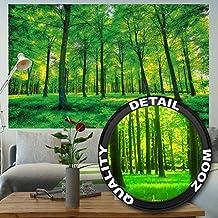 Foto mural Arboles – decoración pura naturalesa paisaje bosque calvero verano relajación sol plantas Flora forstal helechos-ramaI I foto-mural foto póster deco pared by GREAT ART (210x140 cm)