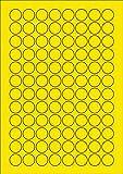 960 Etiketten Farbetiketten selbstklebend rund 20 mm GELB permanent klebend auf Bogen A4 (10 Bögen x 96 Etik.)