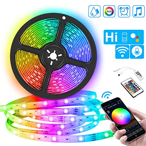 Ruban LED WIFI 5M 5050 RGB 150 SMD Multicolore Intelligent Bande Lumineuse IP65 Étanche, Compatible...