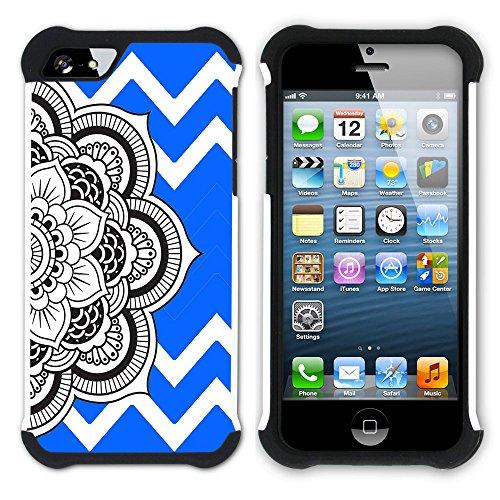Graphic4You Mandala Blume Winkel Muster (Wasserblau) Hart + Weiche Kratzfeste Hülle Case Schale Tasche Schutzhülle für Apple iPhone SE / 5 / 5S Königsblau