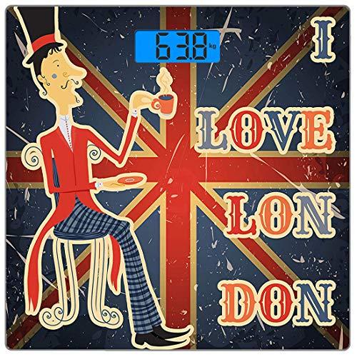 Präzisions-Digital-Personenwaage Britische Ultra Slim-Personenwaage aus gehärtetem Glas Genaue Gewichtsmessungen, I Love London-Zitat Englischer Mann trinkt Tee auf Hintergrund der britischen Flagge N -