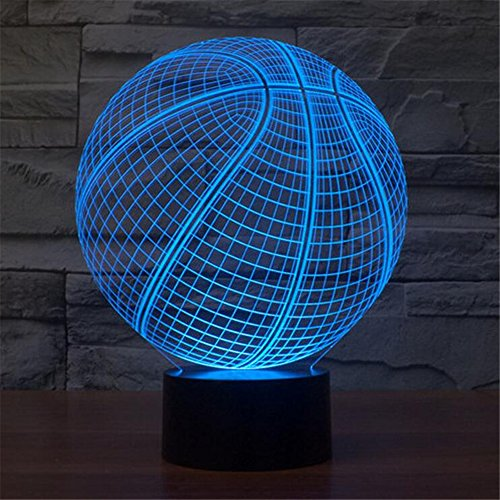 Lichter LED Lampe Acryl Vision Stereoskopische 3D Touch Lampe Nacht Licht bunte Steigung Lampe (Licht Basketball)