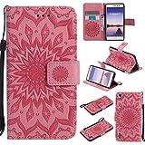 Guran Custodia in Pelle per Huawei Ascend P7 Smartphone avere Carta Slot Supporto Protettiva Flip Case Cover-rosa