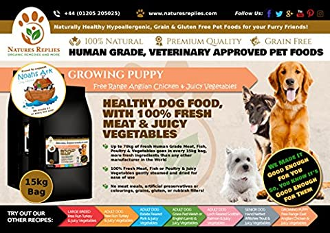 NATURES REPLIES: Natural Healthy Human Grade Veterinary Approved Grain Gluten Rice Free Best GROWING PUPPY Dog Food Free Range Anglian CHICKEN in 15Kg Bags. Aids Joints and Bones Mobility Cognitive Function Visual Development Reduces Inflammation Hypoallergenic Pet Foods Nutrition Clean Dog Food Mats & Bowls. Use as Kibble Edibles or Healthy Treats for ALL Breeds and Dog Training. ONLINE FREE FAST DELIVERY