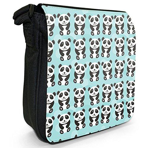 Tenero animale Unicorno Pattern Small Nero Tela Borsa a tracolla, taglia S Rows of Black & White Pandas