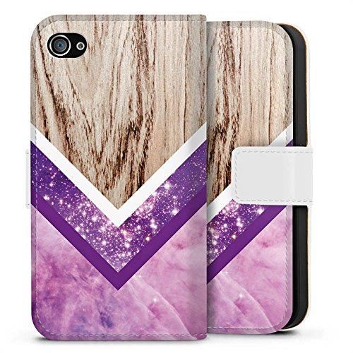 Apple iPhone X Silikon Hülle Case Schutzhülle Holz Look Glitzer Hipster Muster Sideflip Tasche weiß