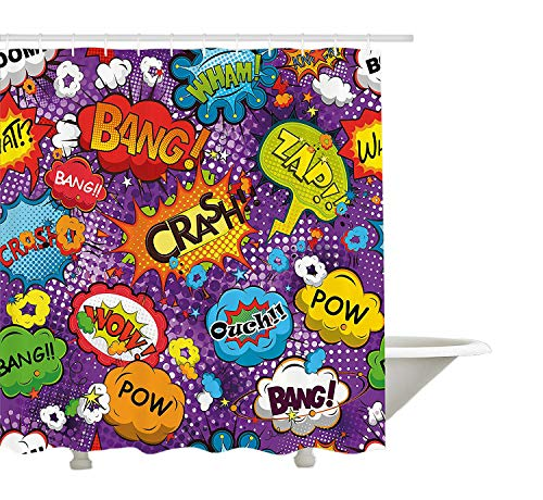 (Yeuss Duschvorhang, Retro-Stil, Comic Explosion Speech Bubbles Boom Blast, witzige Lustige Pop Art, Stoff Badezimmer Set mit Haken, Multicolor, 60