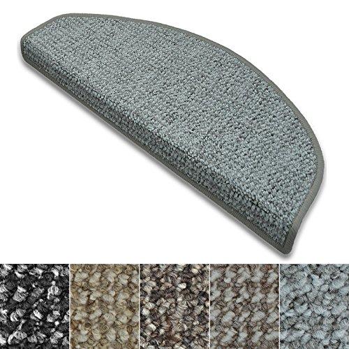 casa pura Stufenmatten Carlton | Flachgewebe dezent Gemustert | Treppenteppich in Zwei Formen | mit Teppich Läufer kombinierbar (Hellgrau - halbrund - 15 Stück) -
