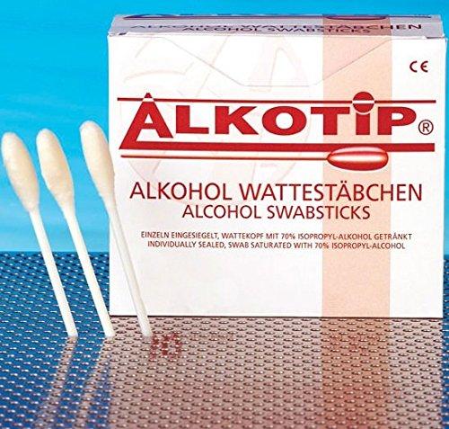 ALKOTIP Alkohol Wattestäbchen - 1 Stück eingesiegelt - Wattekopf mit 70% Isopropyl-alkohol getränkt┇Alcohol Swabsticks 1 pieces PZN 2531339