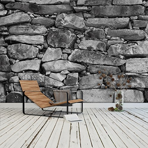 Preisvergleich Produktbild FOTOTAPETE ,,Black & White Stonewall 103' 366 x 254cm Steinwand Steine Mauer Fels schwarz weiß Tapete inklusiv Kleister
