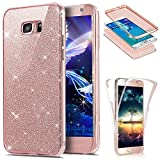 EMAXELERS Samsung Galaxy S6 Edge Hülle Full-Body 360 Coverage Transparent TPU Silikon Schutz Schale Etui Protective Case Cover Für Samsung Galaxy S6 Edge,Glitter Full TPU:Rose Gold