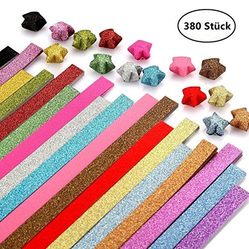 ODETOJOY Origami Papier Sterne Streifen Papierstreifen Package Glitzer Origami Sterne Papierstreifen Crafts Bling Shiny Glänzend zusammenklappbar Lucky Strip 19 Farben, 380 Blatt